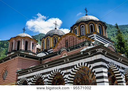 Partial View Of Church In Famous Rila Monastery, Bulgaria