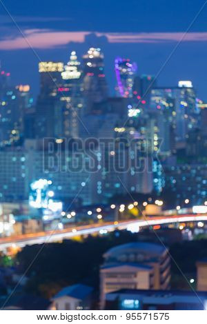 Defocused city lights, blur bokeh background