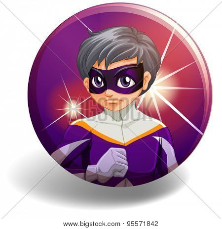 Male superhero in outfit on purple badge