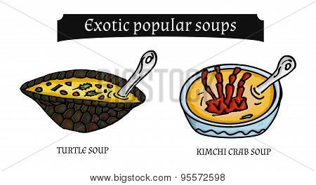 Vector Illustration Of Exotic Soups And Snacks Asia On A White Background. Bon Appetit.