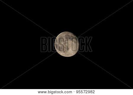 Full Moon Over Black Sky At Night