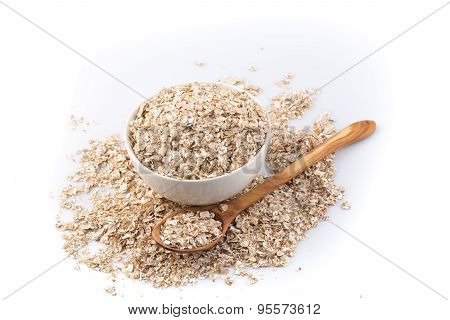 Oat Flakes For Breakfast Isolated On White Background