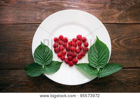 Leaves And Berries Of Raspberry