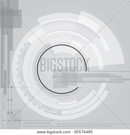 Abstract technology contour object. Light futuristic concept, digital, round composition, gray. Blac