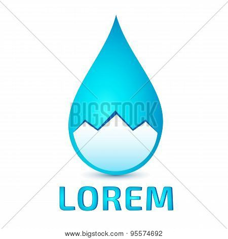 Logo template, clear water drop in stylized mountain, vector
