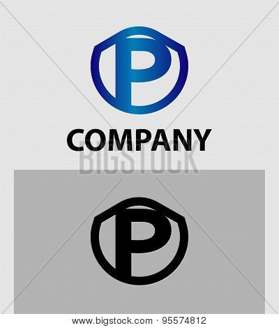 Letter P logo. Alphabet logotype vector design