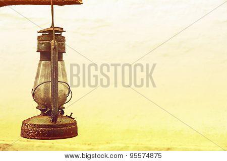 Vintage Old Kerosene Lamp Outdoors Taken Closeup.