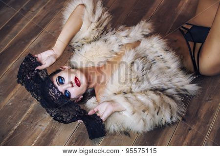 Beauty Fashion Model Girl In In A Fur Coat And Lingerie
