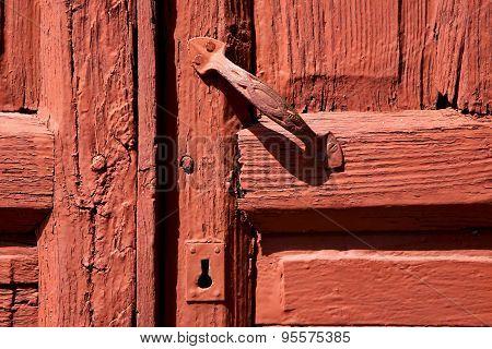 Spain Knocker Lanzarote Door Wood In The Red Brown