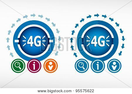 4G Sign Iconand Creative Design Elements.