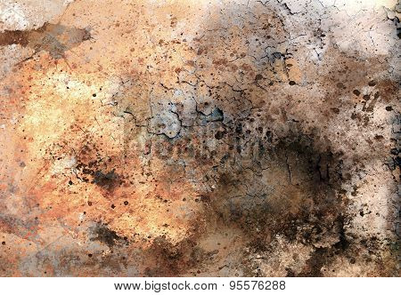 Abstract Color Backgrounds, Painting Collage With Spots, Rust Structure And Desert Crackle.