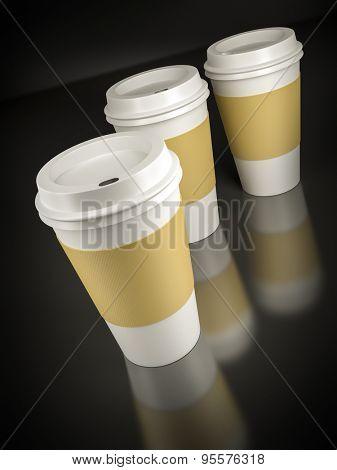 Three coffee to go on black background