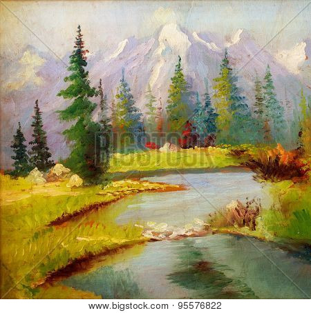 Beautiful Original Oil Painting Landscape On Canvas. Snow Covered Mountains In The Background.