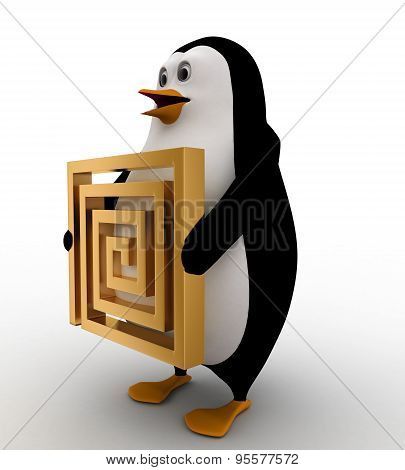 penguin holding a puzzle path on his hands concept