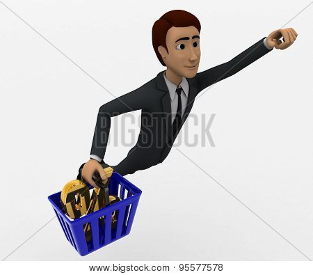 man flying upward carrying a basket containing percentage symbol