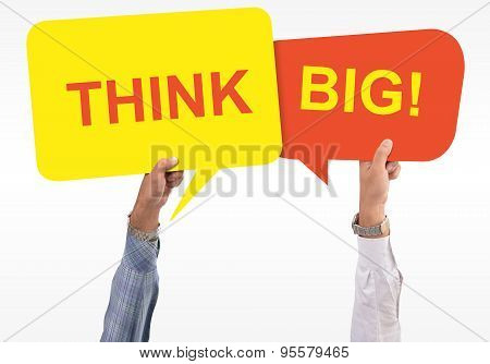 Two speech Bubble about thinking Big
