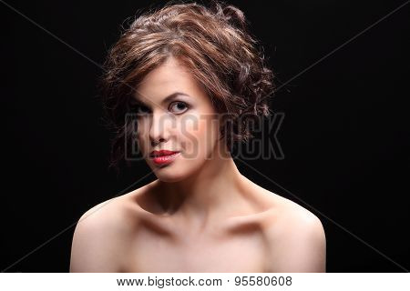 Beautiful Girl With A Scar On Face And Shoulder