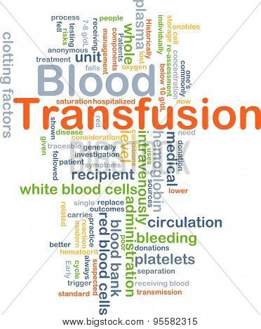 Background concept wordcloud illustration of blood transfusion