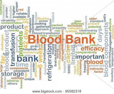 Background concept wordcloud illustration of blood bank