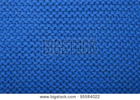 The Texture Of The Blue Knitted Fabric