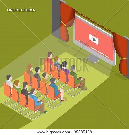 Online cinema flat isometric vector concept.