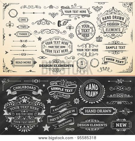 Collection of Hand Drawn Vector Design Elements