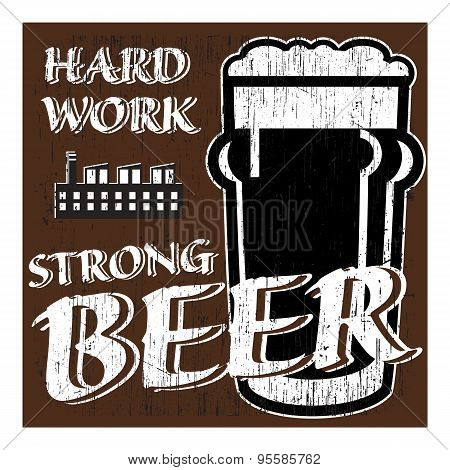 Vector Glass Of Beer With Factory About Hard Workers