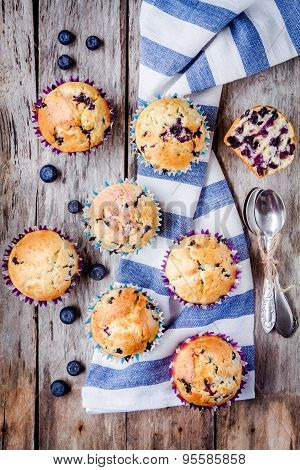 Homemade Muffins With Blueberries Top View