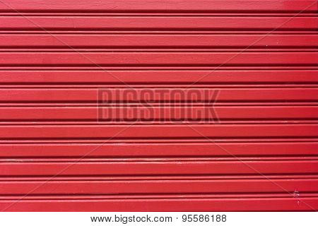 Red Painted Corrugated Metal Door For Background