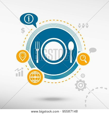 Plate Fork And Spoon Symbol.
