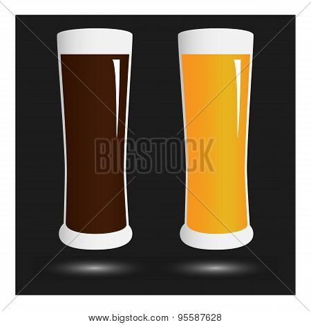 Vector Volume Beer Glass With Lettering Beer Menu