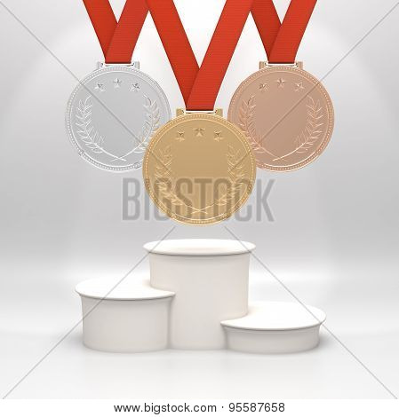 Medals and podium