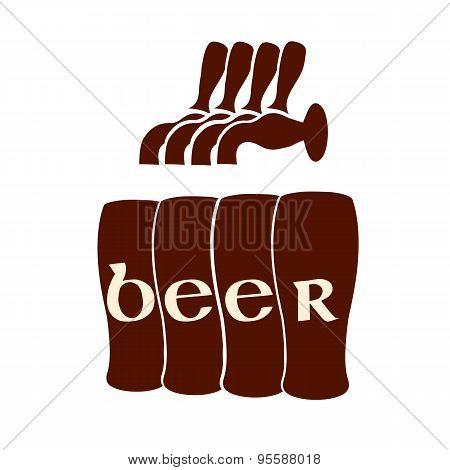 Vector Silhouette Beer Faucets With Glasses