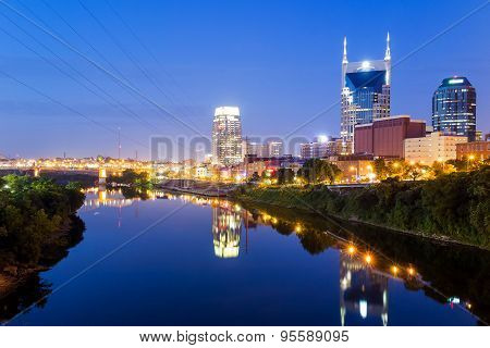 Nashville, Tennessee Downtown Skyline At Twilight