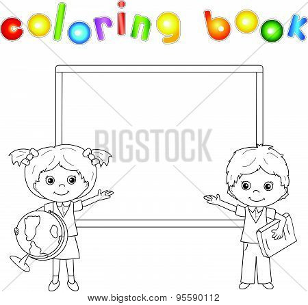 Boy And Girl Standing Near The Blackboard In A Classroom
