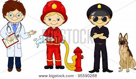 Policeman, Fireman And Doctor In Their Uniform