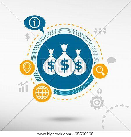 Money Symbol And Creative Design Elements.