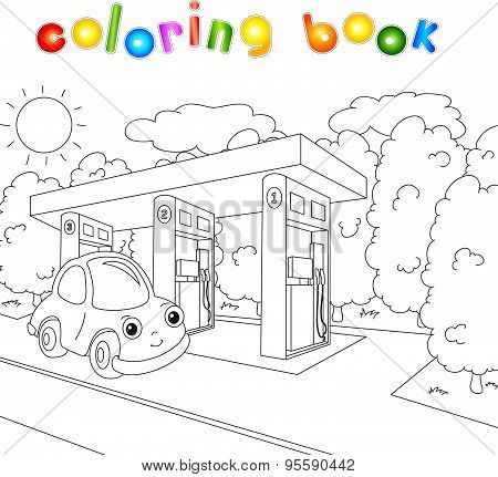 Funny Cartoon Car Near The Petrol Station In The Forest. Coloring Book For Children