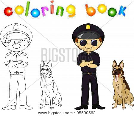 Policeman In Black Uniform And Cap With Guard Dog. Coloring Book