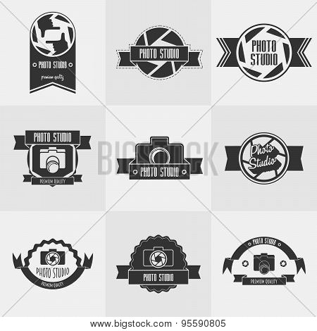 Vector Set Of Photo Studio Logo Templates. Photography Vintage Badges And Icons. Photo Labels.