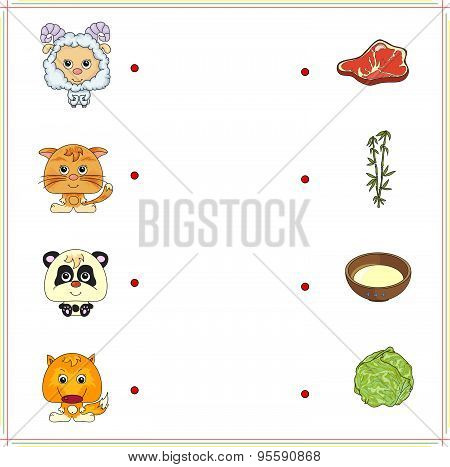 Lamb, Kitten, Panda And Fox With Their Food (meat, Milk, Bamboo And Cabbage)