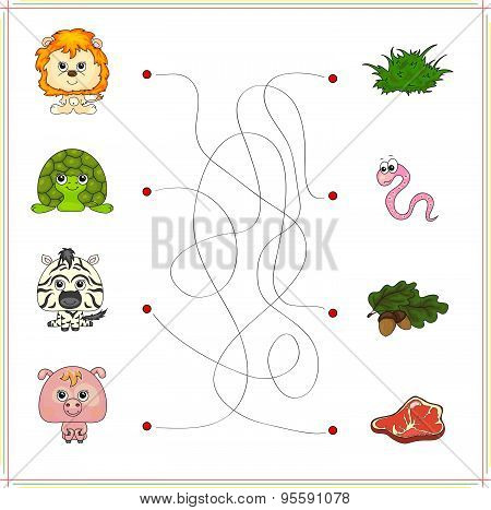 Lion, Turtle, Zebra And Pig With Their Food (grass, Worm, Acorn And Meat)