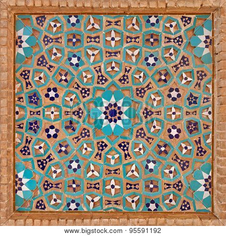 Flowers Motif In Islamic Iranian Pattern Made Of Tiles And Bricks