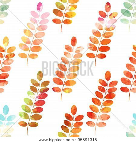 Autumn rowan leaves on a white background. Seamless vector pattern