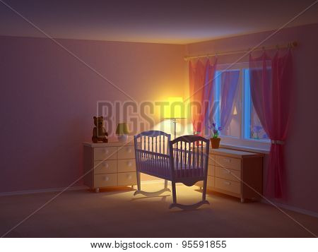 Baby Room Cradle Night