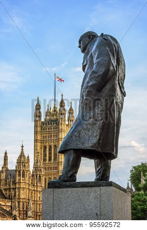 Statue Of Sir Winston Churchill, Parliament Square, London