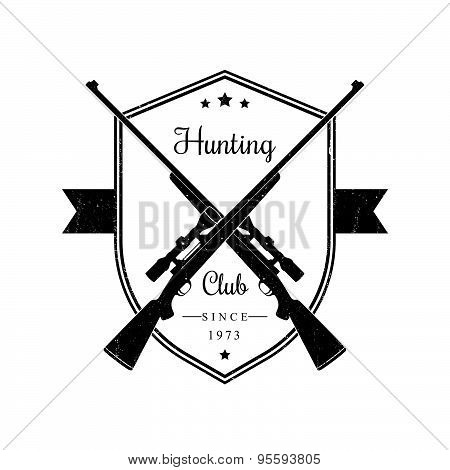 Hunting Club vintage emblem with rifles, with grunge texture, vector illustration
