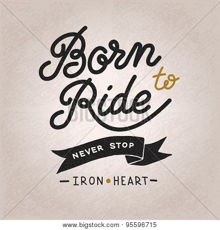 Vintage hand drawn lettering composition, biker theme