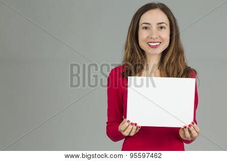 Woman Holding An Advertisement Placard