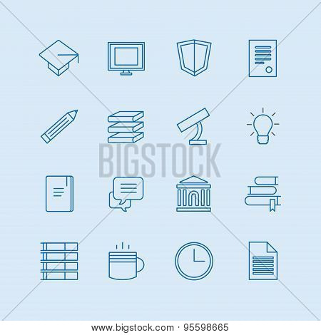 Education vector icons set. Education, students or school symbols. Stock design elements.